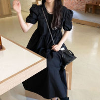 Dress Medium length skirt Short sleeve singleton  commute Crew neck Solid color Condom 18-24 years old puff sleeve Other Korean version Summer 2021 71% (inclusive) - 80% (inclusive) One size fits all