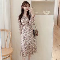 Dress Spring 2021 Black, khaki S,M,L,XL Mid length dress singleton  Long sleeves commute V-neck Decor Socket Others 18-24 years old Korean version 71% (inclusive) - 80% (inclusive)