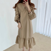 Dress Spring 2021 Black, khaki Average size Mid length dress singleton  Long sleeves commute Doll Collar Loose waist Solid color Socket Ruffle Skirt routine Others 18-24 years old Type A Korean version Lotus leaf edge 71% (inclusive) - 80% (inclusive) cotton
