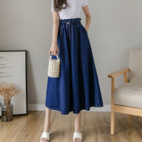 skirt Spring 2021 S,M,L,XL,2XL Light blue, dark blue longuette commute High waist Umbrella skirt Solid color Type A 25-29 years old 81% (inclusive) - 90% (inclusive) Denim cotton Pockets, buttons, thread trim Korean version