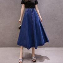 skirt Summer 2021 S,M,L,XL,2XL navy blue longuette Versatile High waist Umbrella skirt Solid color Type A 25-29 years old 81% (inclusive) - 90% (inclusive) Denim cotton Pocket, button, zipper