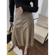 skirt Autumn 2020 S,XL,L,M Dark card, black, milk card Middle-skirt commute A-line skirt Solid color 18-24 years old SN0141 other PU Splicing