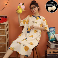 Nightdress Other / other 8958, 8959, 8960, 8961, 8962, 8963, 8971 and 8974 respectively Size m for women (70-98 kg), size L for women (98-115 kg), size XL for women (115-130 kg), size 2XL for women (130-145 kg), and size 3XL for women (145-160 kg) Cartoon Short sleeve Leisure home Middle-skirt summer