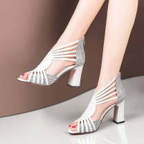 Sandals 35,36,37,38,39,40 PU Other / other Fish mouth Thick heel High heel (5-8cm) Spring 2021 zipper sexy Color matching Adhesive shoes rubber daily Bag heel Gao Bang PU PU Roman shoes Shaving