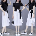 Dress Summer 2021 black S,M,L,XL,XXL Mid length dress Two piece set Short sleeve nylon