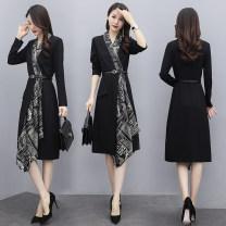Dress Spring 2021 black S,M,L,XL,2XL,3XL longuette singleton  Long sleeves commute V-neck High waist Decor Socket A-line skirt routine Type A Korean version Splicing knitting polyester fiber