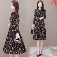 Dress Autumn 2020 black M,L,XL,2XL,3XL,4XL longuette singleton  Long sleeves commute Korean version