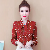 Lace / Chiffon Spring 2021 Red dot S,M,L,XL,2XL Long sleeves commute Cardigan singleton  Self cultivation Polo collar Dot routine Button Korean version polyester fiber