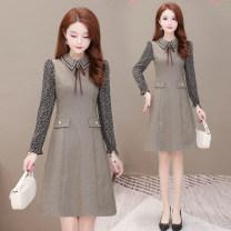 Dress Spring 2021 khaki M,L,XL,2XL,3XL longuette singleton  Long sleeves commute Crew neck middle-waisted lattice Socket A-line skirt routine Type A Korean version Splicing Wool