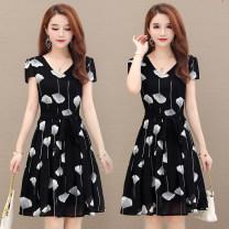 Dress Summer 2021 Black flowers M,L,XL,2XL,3XL,4XL Short skirt singleton  Short sleeve