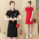 Dress Summer 2021 Red, black M,L,XL,2XL,3XL Miniskirt singleton  Short sleeve commute Polo collar Solid color Socket A-line skirt routine Type A Korean version Embroidery