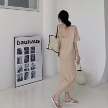 Dress Summer 2021 Khaki, black Average size longuette singleton  Short sleeve commute Other / other