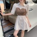 Dress Summer 2021 Apricot, white Average size Middle-skirt Two piece set Short sleeve commute Polo collar camisole Type A Other / other Retro 3089# 31% (inclusive) - 50% (inclusive) other