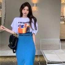 Fashion suit Summer 2021 S. M, average size White T-shirt, black T-shirt, black skirt, blue skirt Other / other