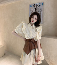 Dress Summer 2021 Apricot dress, white dress, brown waist cover Average size Middle-skirt Short sleeve Sweet 18-24 years old Other / other fungus