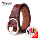 Belt / belt / chain Double skin leather Earthy yellow white pink (plum red) blue brown reddish brown black female belt grace Single loop youth Pin buckle other Embossing 3.3cm alloy Ginning Tucano / woodpecker WDB4972 Spring and summer 2017