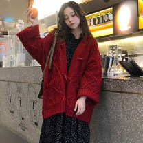Wool knitwear Autumn 2020 Special shooting for fairies below 155, special shooting for goddesses above 170, average size (155-170 height), [large factory production, spot sales], [support 15 day return] Red, off white, blue, yellow Long sleeves singleton  Cardigan other Regular thickening commute
