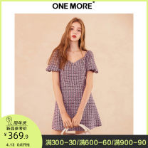 Dress Spring 2020 Pink Purple 155/80A/XS 160/84A/S 165/88A/M 170/92A/L Short skirt singleton  Short sleeve commute square neck High waist zipper A-line skirt puff sleeve Others 25-29 years old Type A one more lady 11KH017209 More than 95% polyester fiber Polyester 100%