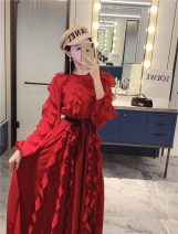 Dress Autumn of 2019 claret S,M,L longuette singleton  Long sleeves commute Crew neck middle-waisted Solid color A button other other Others Type A Other / other Ol style Chiffon