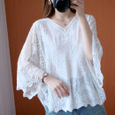 Women's large Spring 2021 White, blue, red Large size average size [100-200kg recommended] shirt singleton  commute easy thin Socket Long sleeves literature V-neck Bat sleeve 25-29 years old