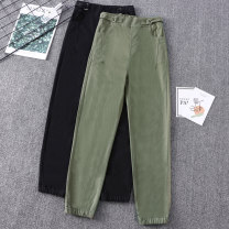 Women's large Spring 2020 Army green, black Large XL (95-100 kg recommended), large 2XL (1100-120 kg recommended), large 3XL (120-140 kg recommended), large 4XL (140-160 kg recommended), large 5XL (160-190 kg recommended) trousers singleton  commute easy moderate Korean version 25-29 years old pocket