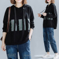 Women's large Spring 2021 black Large L [100-150 Jin recommended], large XL [150-200 Jin recommended] Sweater / sweater singleton  commute easy moderate Long sleeves literature Hood routine 25-29 years old