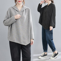 Women's large Spring 2020 Black, light grey Large L [recommended 100-160 kg], large XL [recommended 160-210 kg] Sweater / sweater singleton  commute Straight cylinder moderate Socket Long sleeves literature Hood routine routine 25-29 years old