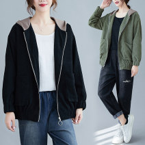 Women's large Spring 2021 Black, apricot, green Large L [recommended 100-125 kg], large XL [recommended 125-150 kg], large 2XL [recommended 150-180 kg] Jacket / jacket singleton  commute easy moderate Cardigan Long sleeves literature Hood routine 30-34 years old pocket