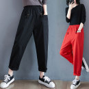 Women's large Spring 2021 Black, red trousers singleton  commute easy moderate literature routine 30-34 years old pocket trousers