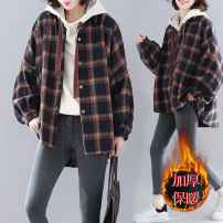 Women's large Winter 2020, autumn 2020 lattice Large L [recommended 100-160 kg], large XL [recommended 160-210 kg] Jacket / jacket singleton  commute easy thickening Cardigan Long sleeves literature Hood routine 25-29 years old
