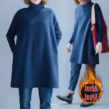 Women's large Winter 2020, autumn 2020 navy blue Large size average size [100-180 Jin recommended] Sweater / sweater singleton  commute Straight cylinder thickening Socket Long sleeves literature Crew neck Medium length routine 30-34 years old