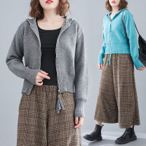 Women's large Spring 2021 Sky blue, white, black, gray Large size average size [100-180 Jin recommended] Jacket / jacket singleton  commute Self cultivation moderate Cardigan Sleeveless literature Hood routine 25-29 years old