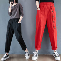 Women's large Spring 2021 Black, red Large M [recommended 90-120 kg], large L [recommended 120-145 kg], large XL [recommended 145-170 kg], large 2XL [recommended 170-210 kg] trousers singleton  commute Straight cylinder moderate literature 30-34 years old pocket trousers