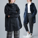 Women's large Autumn 2020 Black, Navy One size fits all [recommended 100-220 kg] Jacket / jacket singleton  commute easy moderate Cardigan Long sleeves literature Hood routine 30-34 years old