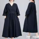 Women's large Autumn 2020 black Big M [recommended 100-130 kg], big l [recommended 130-150 kg], big XL [recommended 150-170 kg], big 2XL [recommended 170-210 kg] Dress singleton  commute easy moderate Socket Long sleeves literature V-neck Three dimensional cutting routine 30-34 years old longuette