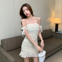 Dress Summer 2021 Apricot S,M,L,XL Miniskirt singleton  Long sleeves commute One word collar High waist Solid color zipper One pace skirt routine camisole 18-24 years old Type H Korean version