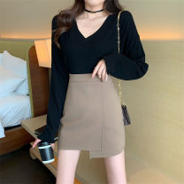 skirt Spring 2021 S,M,L Khaki, black Short skirt commute High waist Irregular Type A 18-24 years old C358 91% (inclusive) - 95% (inclusive) knitting nylon 401g / m ^ 2 (inclusive) - 500g / m ^ 2 (inclusive)