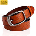 Belt / belt / chain Double skin leather Earthy yellow red black brown female belt Versatile Single loop Middle aged youth Pin buckle Glossy surface