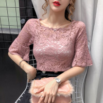 Lace / Chiffon Spring 2020 Black, white, apricot, dark green, pink, green, black + Bra Black, white + bra white, apricot + bra apricot, pink + bra white, green + bra white S,M,L,XL Long sleeves Regular Crew neck Solid color pagoda sleeve 30-34 years old Other / other