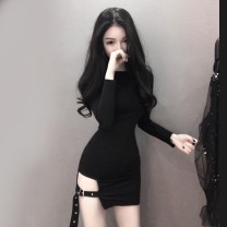 Dress Autumn of 2018 Lemon yellow, black S,M,L Short skirt singleton  Long sleeves commute Crew neck High waist Solid color zipper Pencil skirt routine Others 18-24 years old Other / other Korean version 31% (inclusive) - 50% (inclusive) other cotton