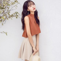 Fashion suit Spring 2021 S,M,L,XL Coffee Top + apricot skirt [two piece set], white top + apricot skirt [two piece set] 18-25 years old 31% (inclusive) - 50% (inclusive) cotton