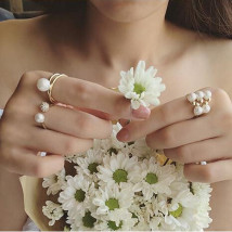 Ring / ring 1.00-9.99 yuan Alloy / Silver / Gold Other/others Three sets of rings. Pearl water drill brand new Japan and South Korea Spot Female Freshly baked Unmounted Plant flowers 5A17-2