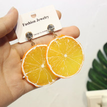 Ear Studs Alloy / silver / gold 10-19.99 yuan Other / other Lifelike. Lemon slices (earrings) are realistic. Lemon slices (green lemon in the ear). Big monkey peach. Large brand new Original design female goods in stock Fresh out of the oven Not inlaid Plants and flowers