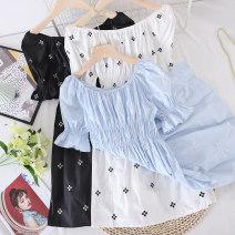 Dress Summer 2021 Black, white, blue Average size Mid length dress singleton  Short sleeve commute One word collar Socket Type X Other / other Korean version other