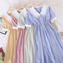 Dress Summer 2021 Black, apricot, red, blue, green, yellow, pink Average size Mid length dress singleton  Short sleeve commute V-neck Solid color Socket Type X Other / other Korean version other