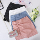 skirt Spring 2021 S,M,L,XL white , black , Pink , Haze blue Short skirt commute High waist A-line skirt Solid color Type A 31% (inclusive) - 50% (inclusive) other Other / other other Korean version