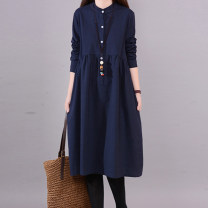 Dress Spring 2020 Navy, pink, khaki M,L,XL,2XL Mid length dress singleton  Long sleeves commute stand collar Loose waist Solid color routine Retro