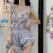 Pajamas / housewear set female Other / other Average size Graph color other Sleeveless sexy pajamas summer routine square neck Solid color shorts Tether juvenile 2 pieces Tether