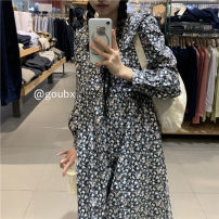 Dress Summer 2021 Dress Average size Mid length dress singleton  Long sleeves commute High waist Broken flowers Socket A-line skirt other Others 18-24 years old Type A Korean version other other