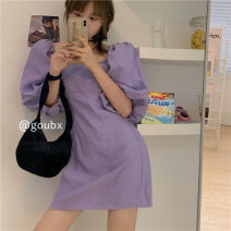 Dress Spring 2021 Black s, black m, purple s, purple M Average size Short skirt singleton  Short sleeve commute square neck High waist Solid color Socket A-line skirt puff sleeve Others 18-24 years old Type A Korean version other other